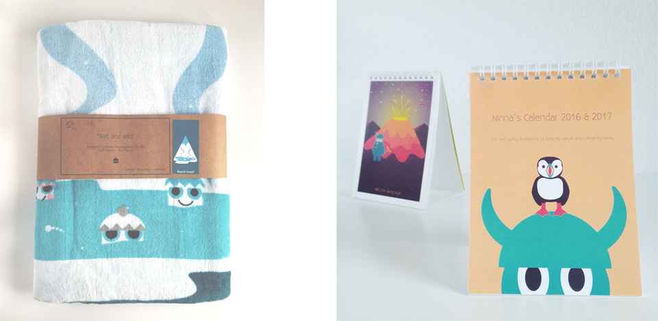 Ninna beach towel and calendar