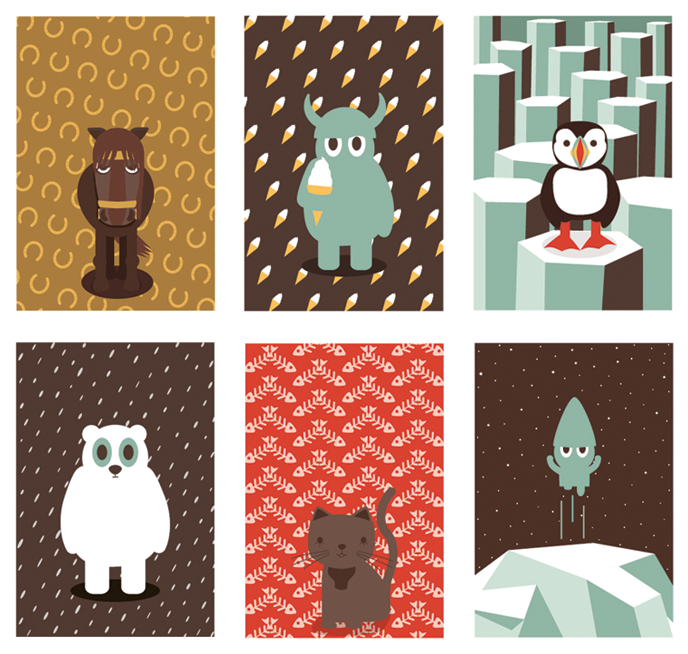 minjaverur, posters, illustration, viking, cat, puffin, Icelandic, bear, horse, pattern