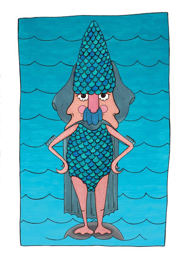 illustration, water, blue, marbendill