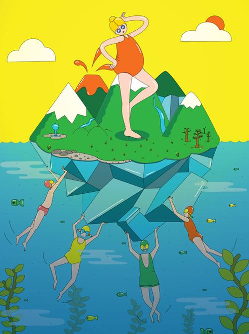 island, Iceland, illustration, teikning, myndskreyting, eyja