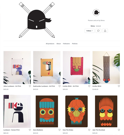 webshop, poster, art, design, ninna, puffin, icelandicart