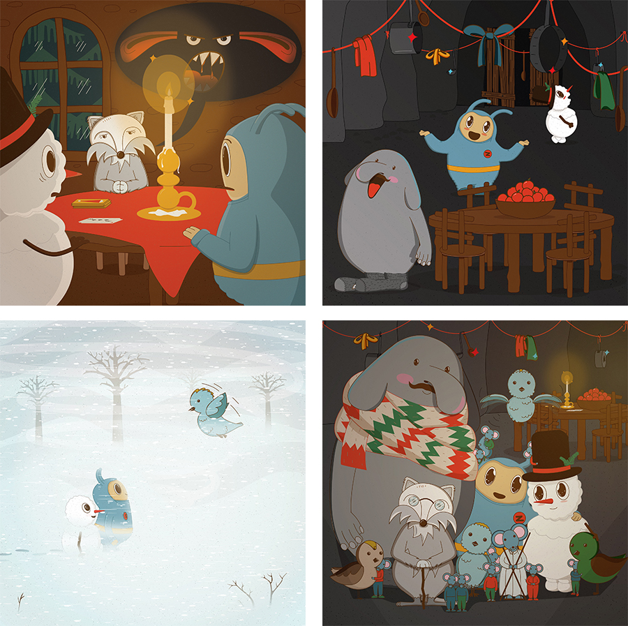 zeta, characterdesign, ullarsokkar, poster, illustration, icelandic, wollensocks, snow, children, story, kids, library