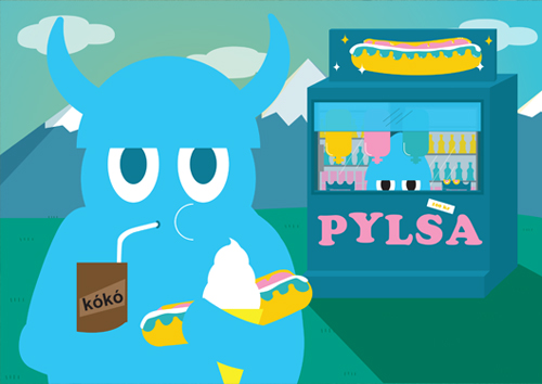Illustration of a viking eating Icelandic hotdog or pylsa