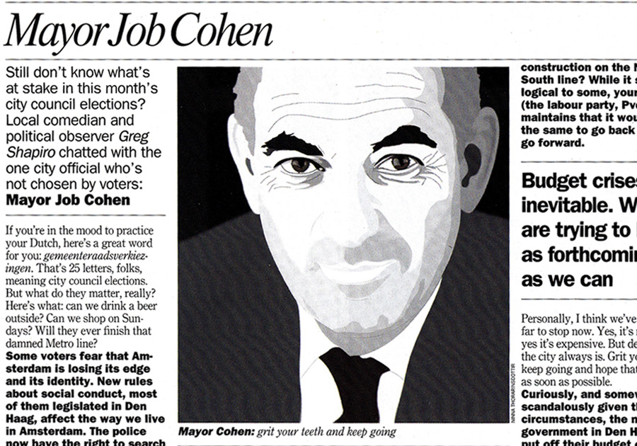 timeout, illustration, Mayor Job Cohen, portrait illustration